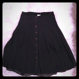 Black and white polka dotted button down skirt